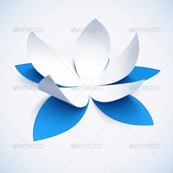 GraphicRiver Blue Cutout Paper Flower 6715306
