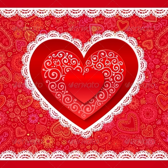 GraphicRiver Lacy Valentines Day Hearts Greeting Card 6715395