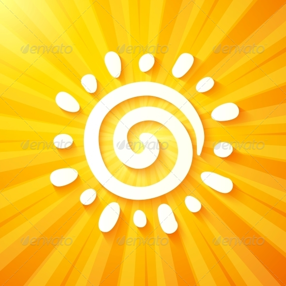 GraphicRiver White Cutout Paper Sun on Yellow Background 6715449