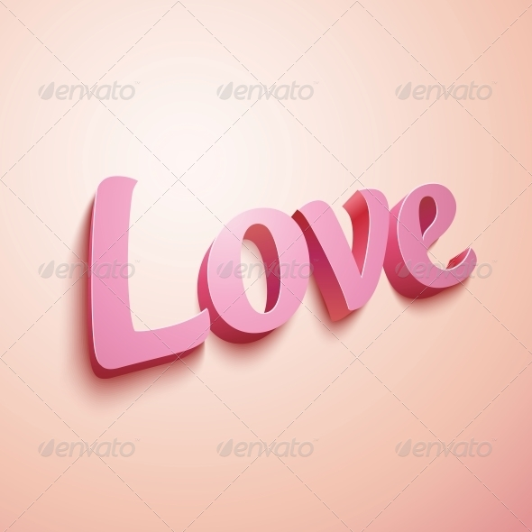 GraphicRiver Pink Realistic Plastic Love Sign 6715794