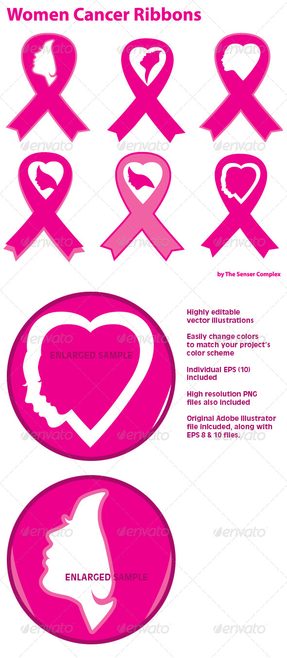 GraphicRiver Women Cancer Ribbons 6715819