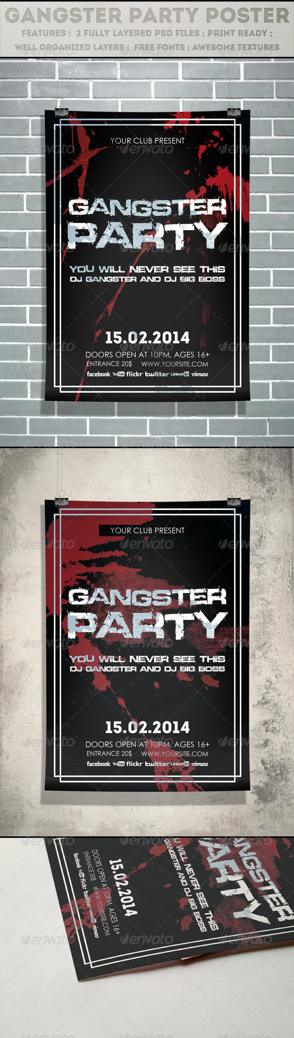 Gangster Party Poster - Clubs & Parties Events