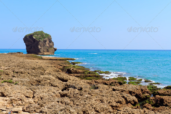 Huge rock formation by the ocean - Stock Photo - Images
