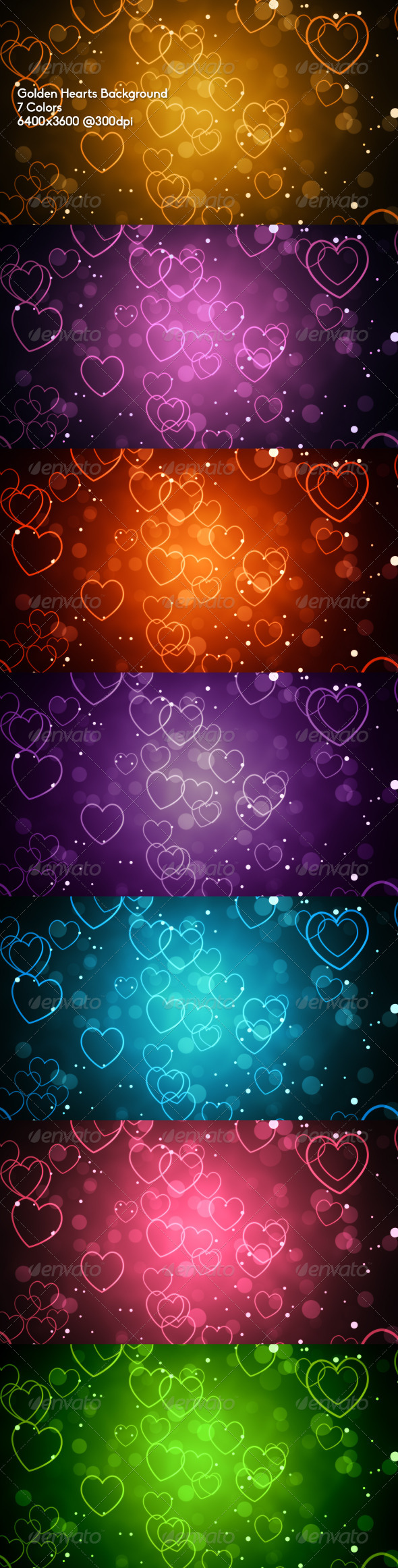 GraphicRiver Golden Hearts Background 6716796