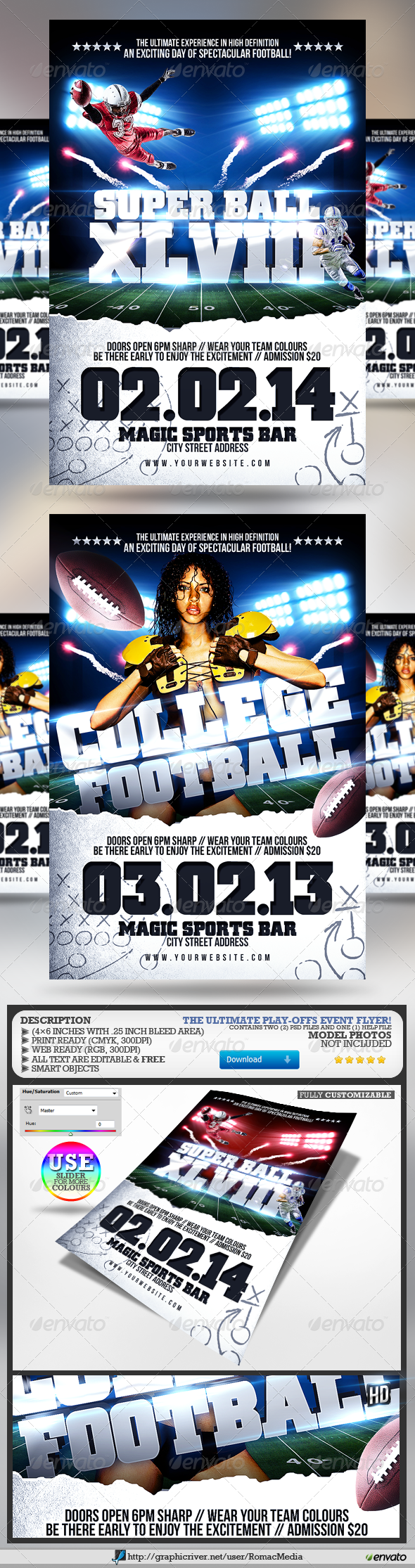Super Ball/College Football Flyer - Sports Events