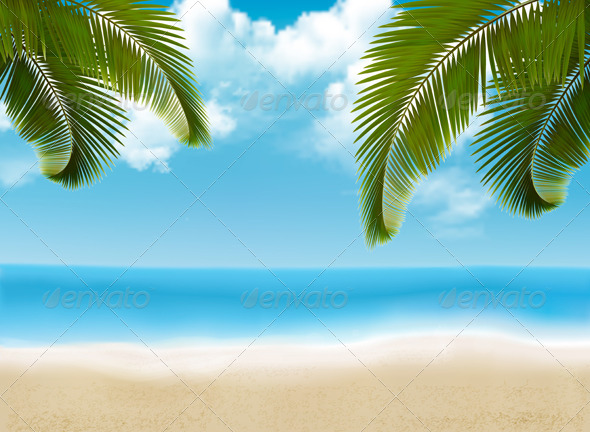 GraphicRiver Palm Leaves on Beach 6716948