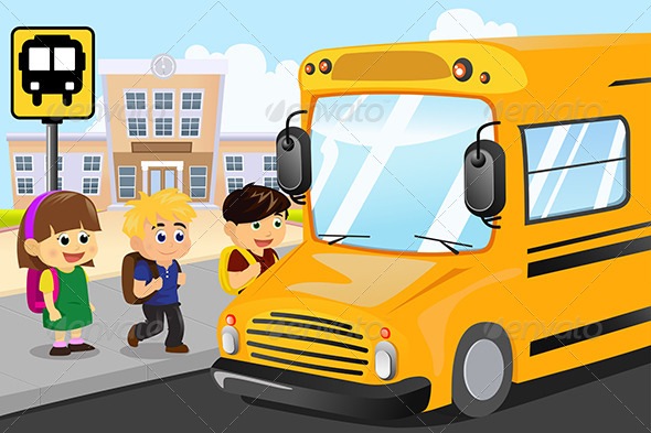 GraphicRiver Kids Waiting to Get on a School Bus 6717671