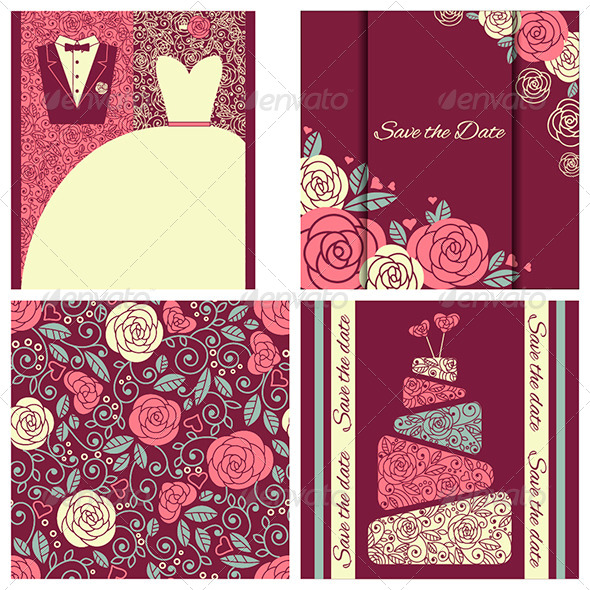 GraphicRiver Set of Wedding Cards in Elegant Style 6717788