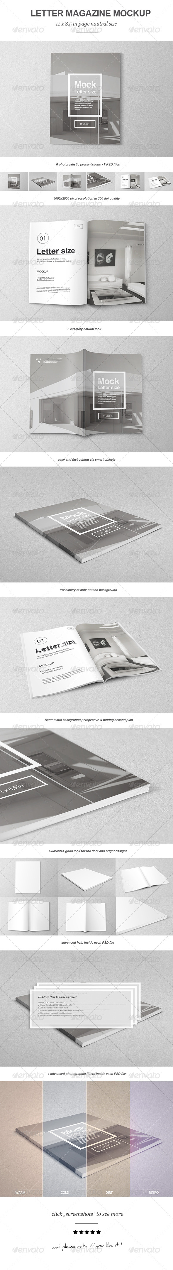 GraphicRiver Letter Magazine Brochure Mock-up 6719333