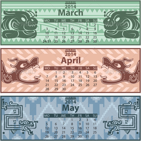 GraphicRiver Spring Calendar 2014 with Mayan Ornaments 6720433
