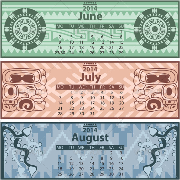 GraphicRiver Summer Calendar 2014 with Mayan Ornaments 6720532