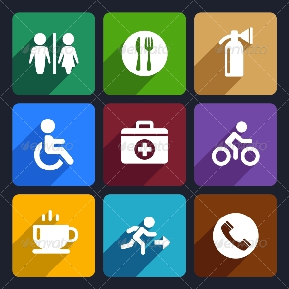 GraphicRiver International Service Signs Flat Icons Set 39 6720642