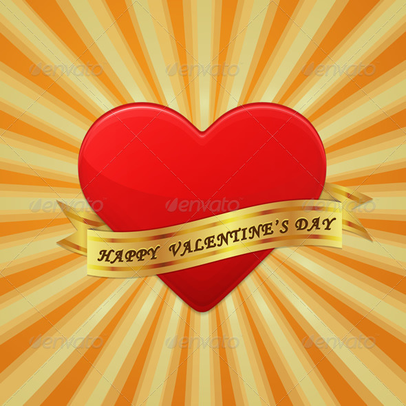 GraphicRiver Heart with Ribbon and Happy Valentine s Day 6720959