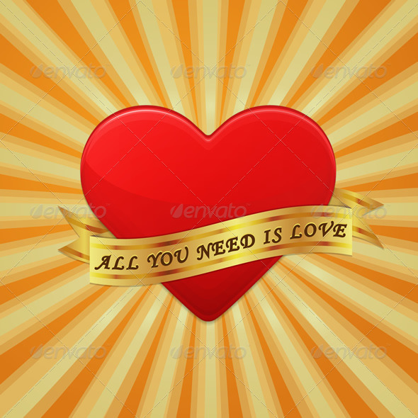 GraphicRiver Heart with Ribbon and Phrase All You Need is Love 6721118