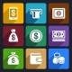 Money and Bank Flat Icons Set 40 - GraphicRiver Item for Sale