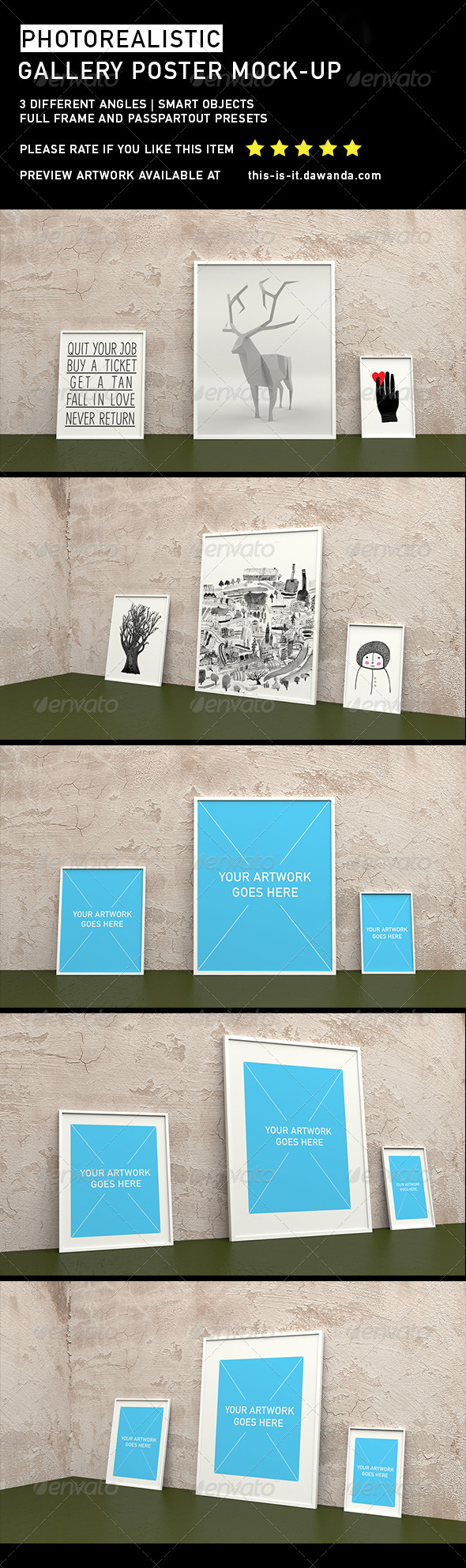 GraphicRiver Photorealistic Gallery Poster Mock-Up 2 6721779