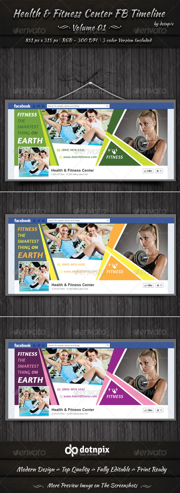 GraphicRiver Health & Fitness Center FB Timeline Cover Volume 1 6724327