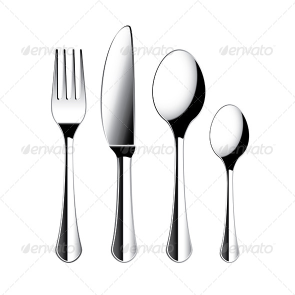 GraphicRiver Fork Knife and Spoon Cutlery Isolated Vector 6725028