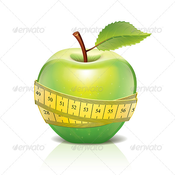 GraphicRiver Green Apple with Measuring Tape Isolated on White 6725138