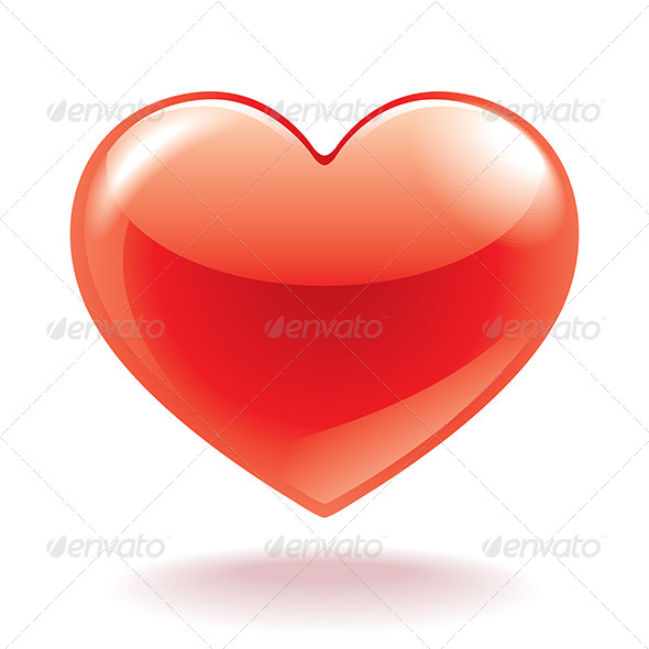 GraphicRiver Red Heart Isolated on White 6725142