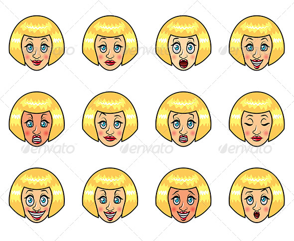 GraphicRiver Woman s Emotions Cartoon Set 6725321