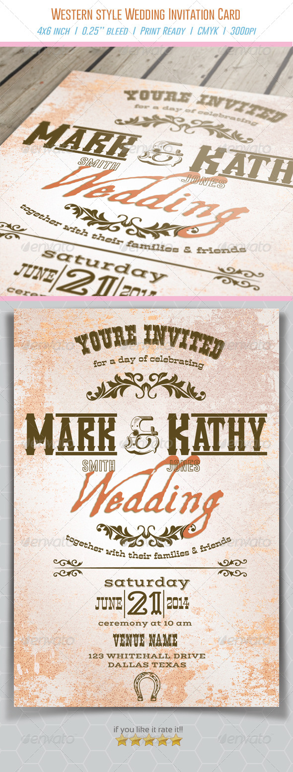GraphicRiver Western Style Wedding Invitation Card 6726150