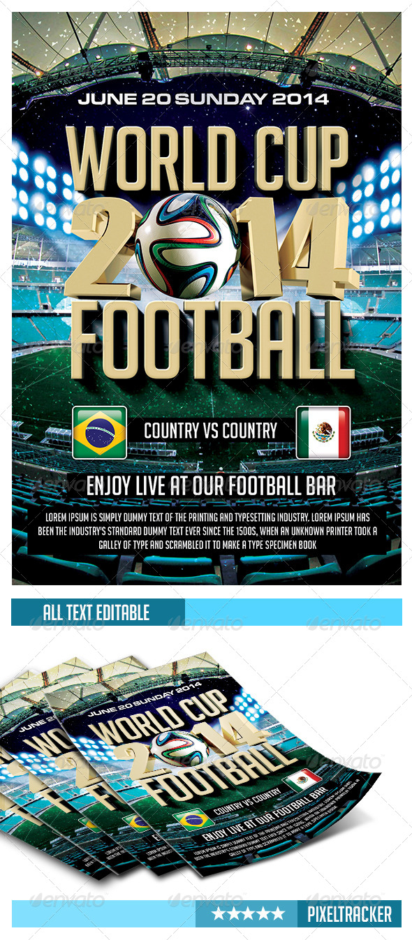GraphicRiver World Cup Football 2014 Flyer Template 6726181