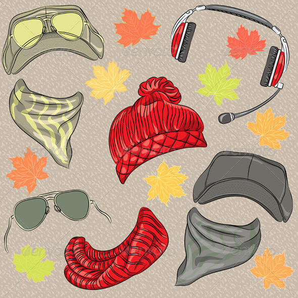 GraphicRiver Hipster Autumn Accessories Set 6726418