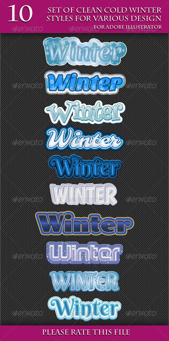 GraphicRiver Set of Clean Cold Winter Styles for Various Design 6726860
