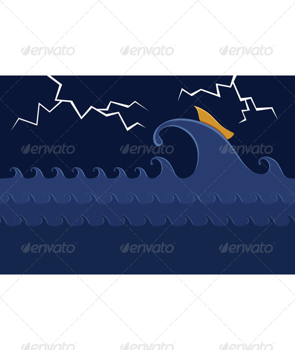 GraphicRiver Little Boat in the Stormy Sea 6729160