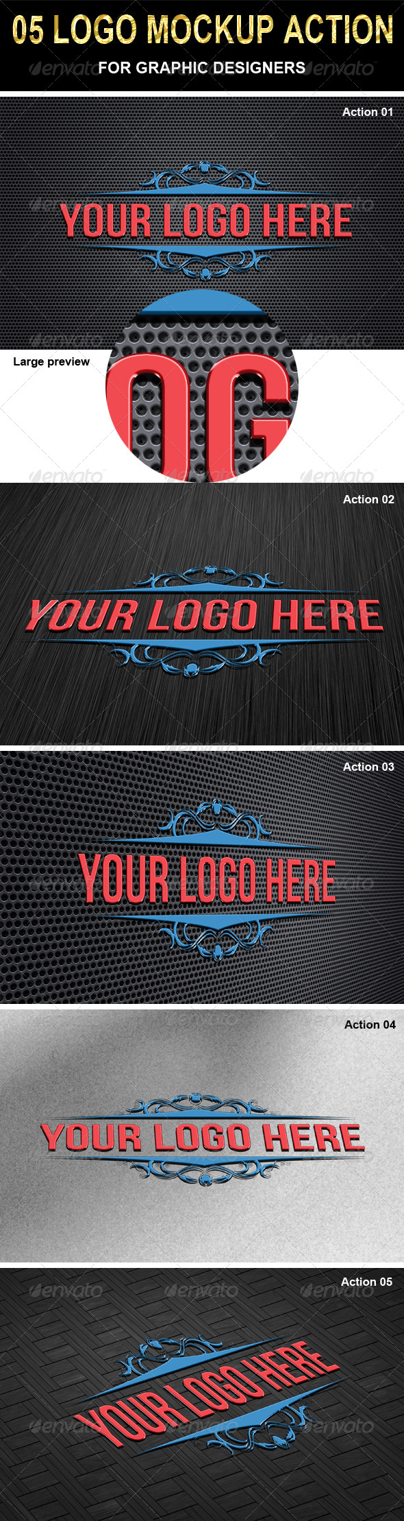 GraphicRiver 05 Logo Mockup Actions Bundle 6729718