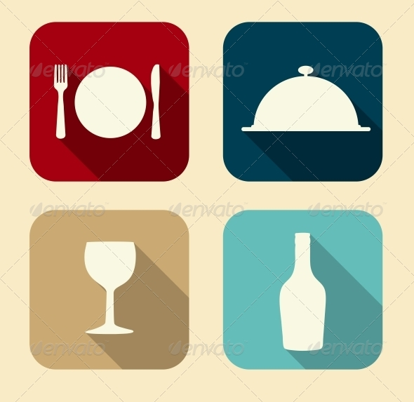 GraphicRiver Modern Flat Food Icon Set 6730240