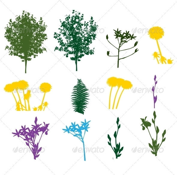 GraphicRiver Set of Plant and Foliage Element Silhouettes 6730244