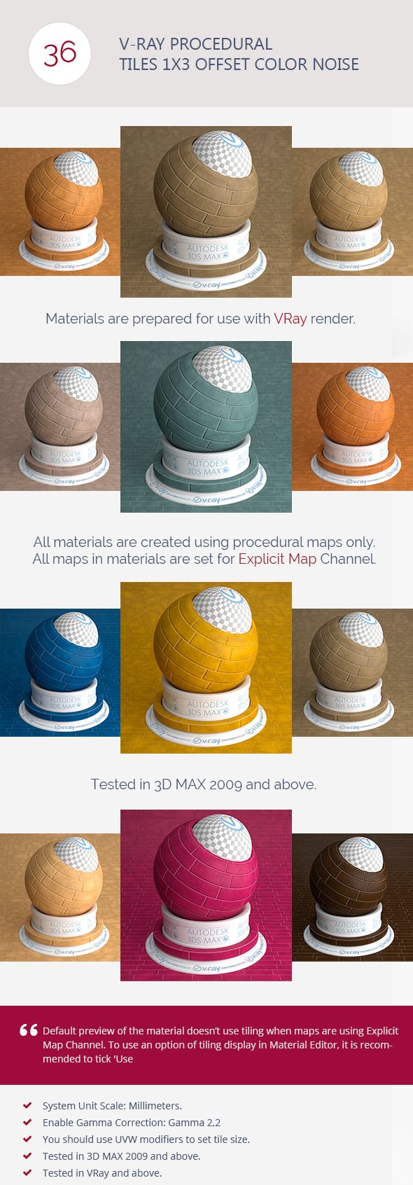 3DOcean V-Ray Procedural Tiles 1x3 Offset Color Noise 6731641