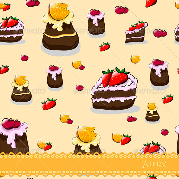 GraphicRiver Seamless Cartoon Pattern with Cakes and Fruit 6734171