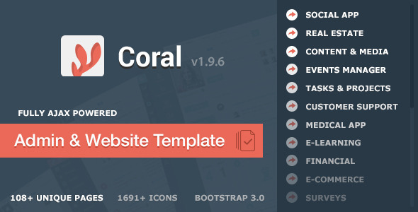 CORAL - App & Website Startup KIT - Admin Templates Site Templates