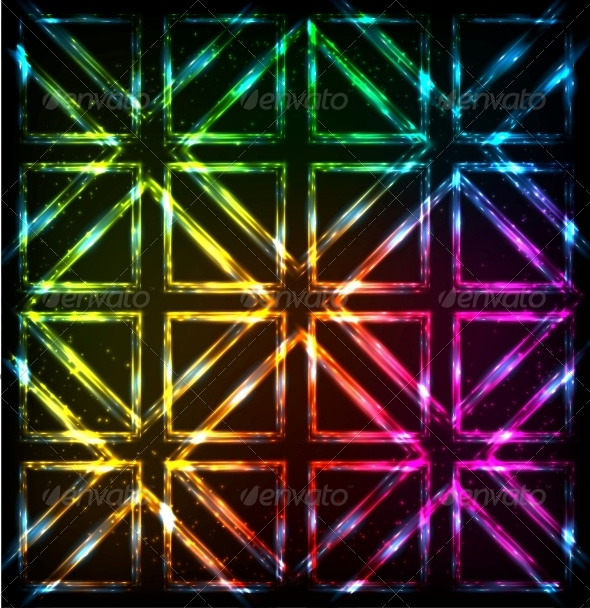 GraphicRiver Shining Neon Lights Rainbow Squares Background 6737096