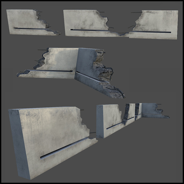 3DOcean Concrete Railing Blocks 6737753