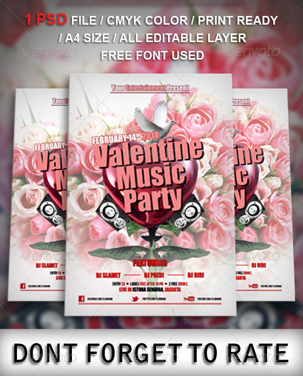 GraphicRiver Valentine Music Party Flyer Template 6737782