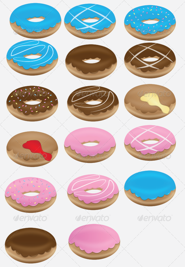 GraphicRiver Doughnut Collection Set 6722863