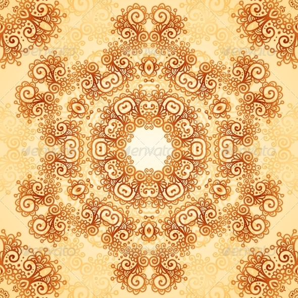 GraphicRiver Ornate Vintage Seamless Pattern in Mehndi Style 6739909