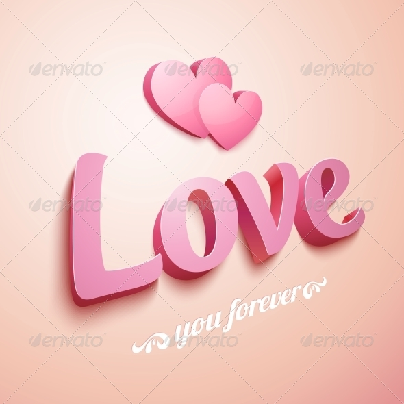 GraphicRiver Pink Love Sign with Hearts 6739922