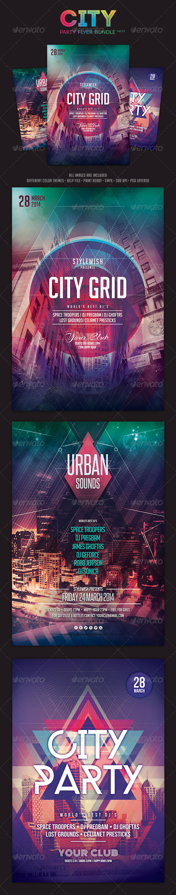 GraphicRiver City Party Flyer Bundle Vol.03 6740595