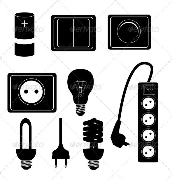 GraphicRiver Electric Accessories Silhouette Icons 6742276