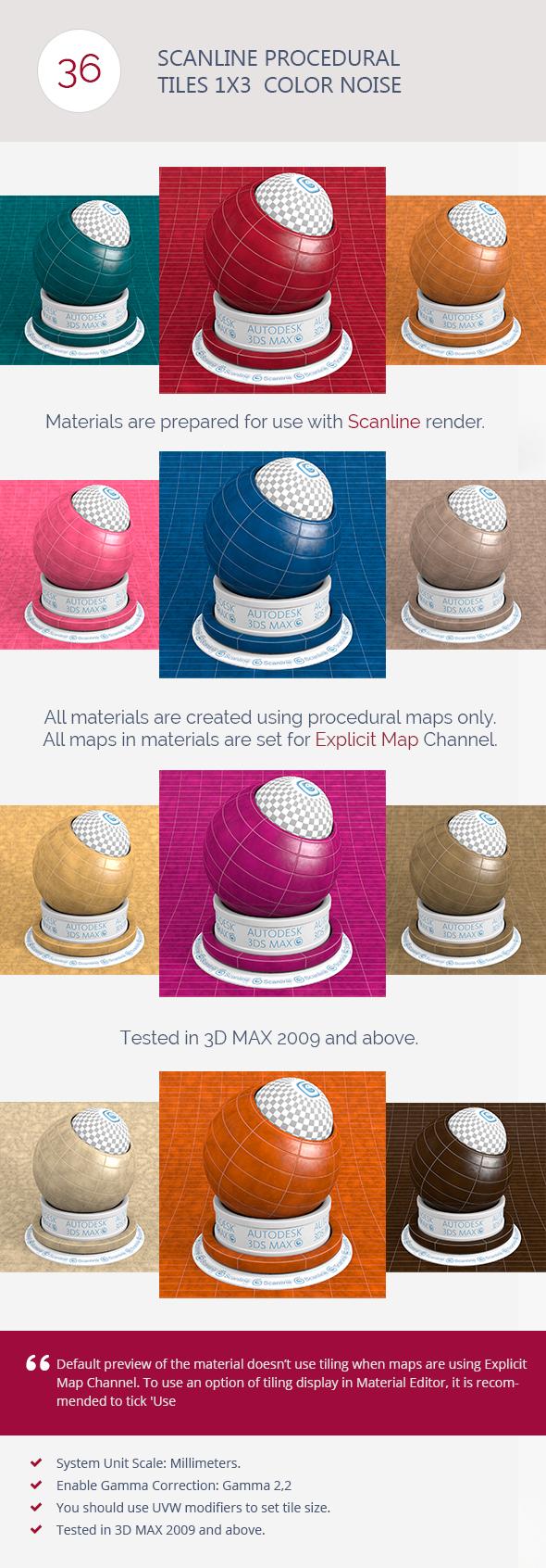 3DOcean Scanline Procedural Tiles 1x3 Color Noise 6744503
