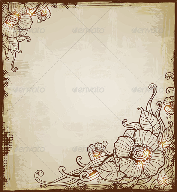 GraphicRiver Vintage Background with Flowers 6745727