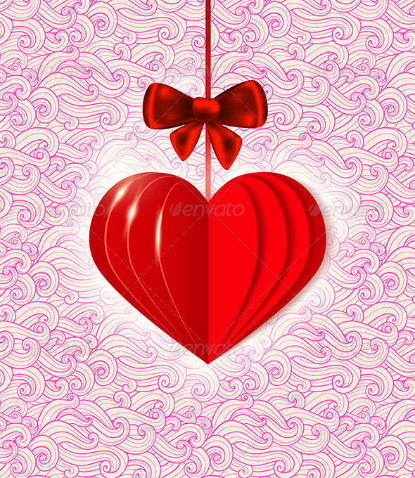 GraphicRiver Background with Red Paper Heart 6745974