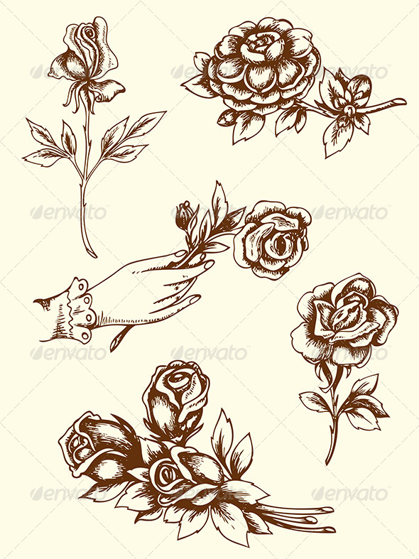 GraphicRiver Vintage Flowers 6746100