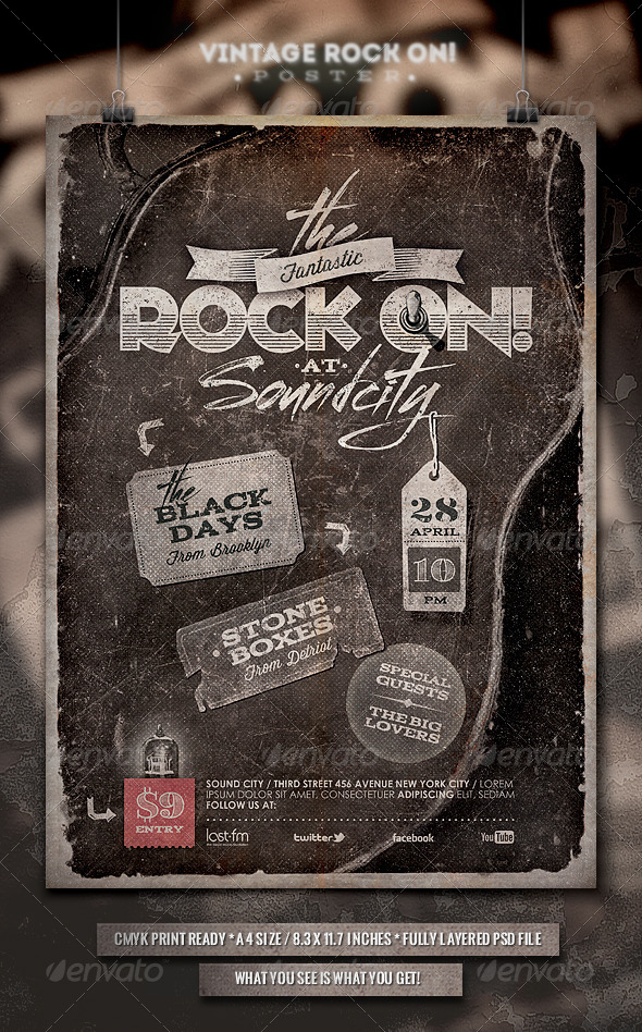 GraphicRiver Rock On Vintage Poster Flyer 6746717