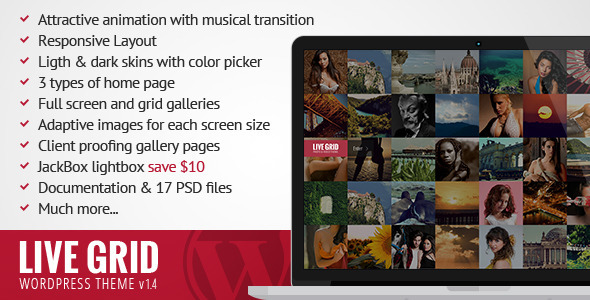 LIVE GRID - Responsive Interactive Wordpress Theme - Photography Creative